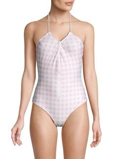 For Love & Lemons Gingham-Print Halterneck One-Piece Swimsuit