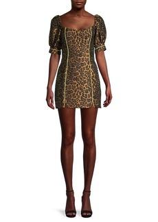 For Love & Lemons Jett Leopard-Print Mini Dress