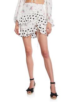 For Love & Lemons Lucia Printed Flounce Mini Skirt