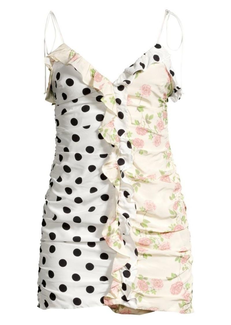 For Love & Lemons Mochi Shirred Polka Dot & Floral Mini Dress