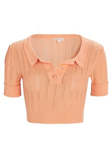 For Love & Lemons Phoebe Cropped Knit Polo Top