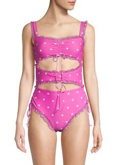 For Love & Lemons Polka Dot 1-Piece Swimsuit