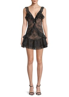 For Love & Lemons Poppy Lace Mini Dress