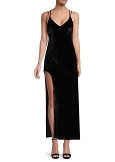 For Love & Lemons Side-Slit Velvet Maxi Dress