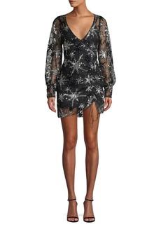 For Love & Lemons Stardust Sequined Sheer Mini Dress