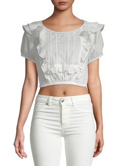 For Love & Lemons Ziggy Pintuck Cotton Blouse
