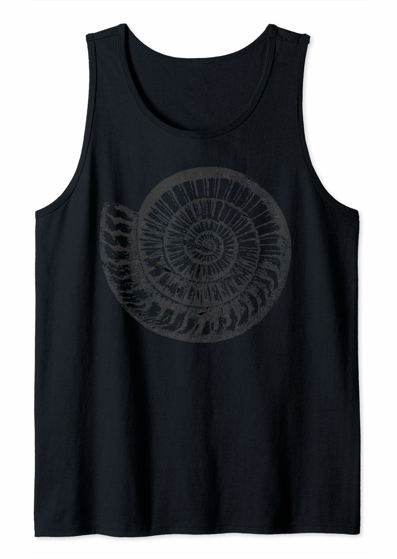 Ammonite Fossil Pen and Ink Distressed Graphic Art Tank Top