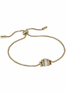 Fossil Bracelet with Crystals and Slider Closure
