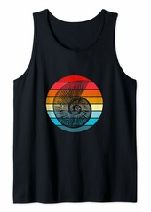 Fossil Ammonite Retro Sunset Paleontology Collector Gift Tank Top