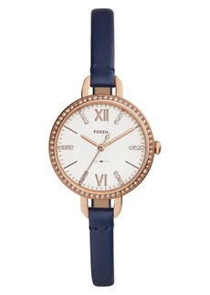 Fossil Annette Leather Strap Watch, 30mm