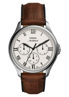 Fossil ARC-02 Multifunction Leather Strap Watch, 44mm
