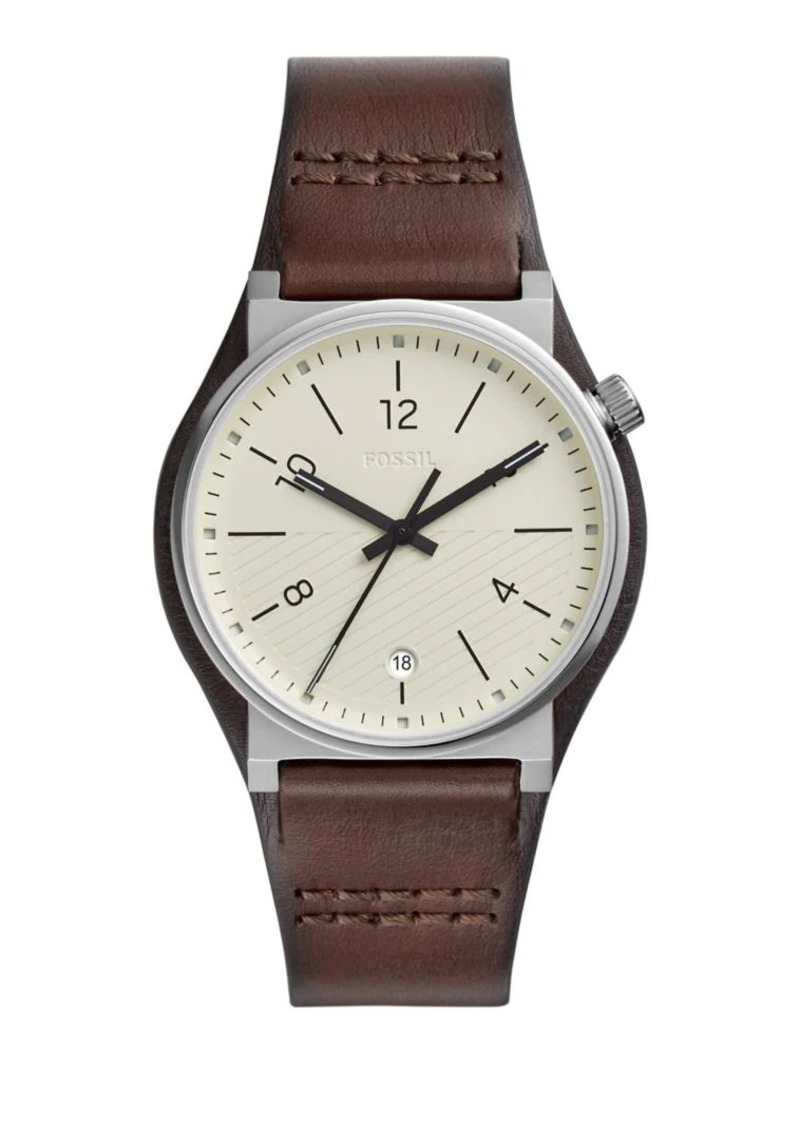 Fossil Barstow Stainless Steel & Leather-Strap Watch