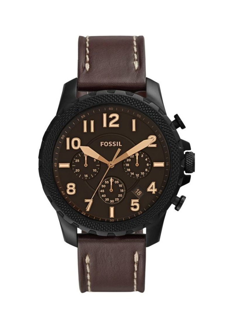 Fossil Bowman Stainless Steel & Leather-Strap Chronograph Watch