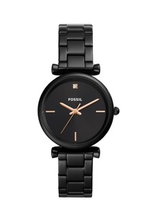 Fossil Carlie Carbon Series 3-Hand Black Stainless Steel Bracelet Watch