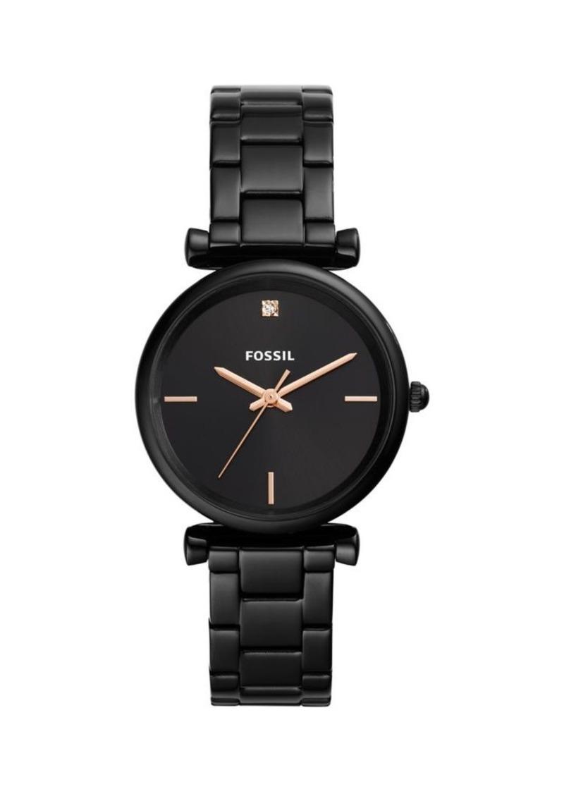 Fossil Carlie Carbon Series 3-Hand Black Stainless Steel Bracelet Watch