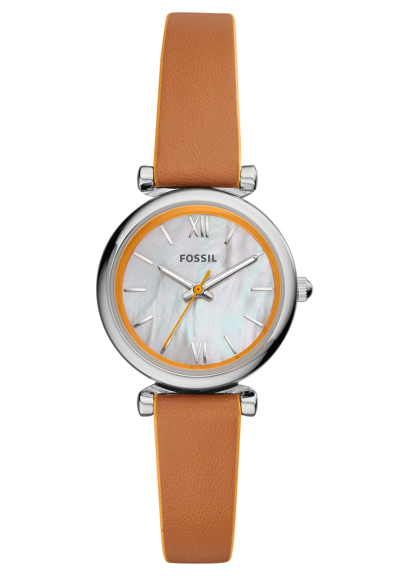 Fossil Carlie Mini Leather Strap Watch, 28mm