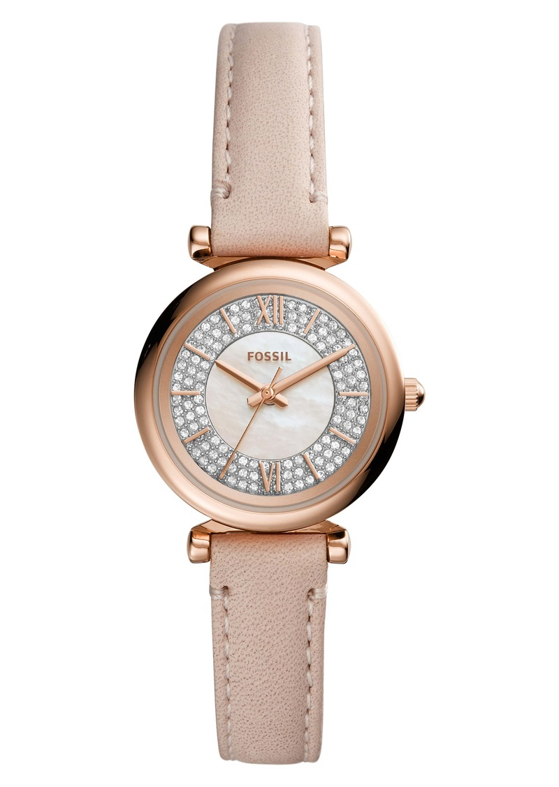 Fossil Carlie Mini Pavé Leather Strap Watch, 28mm