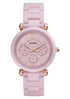 Fossil Carlie Multifunction Ceramic Bracelet Watch, 38mm