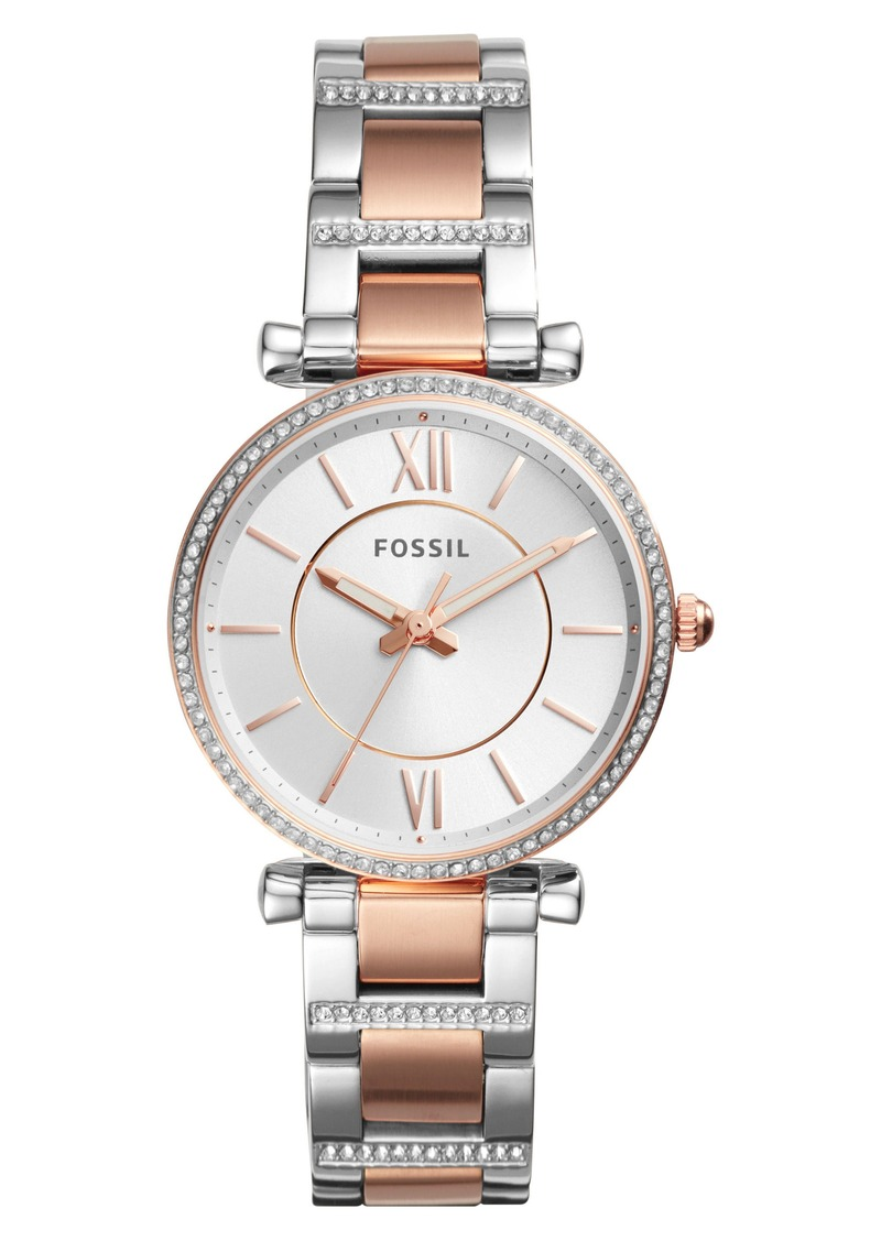 Fossil Jewelry T And Bq1444 Silver Carlie Bar Crystal Bracelet Watch 35mm