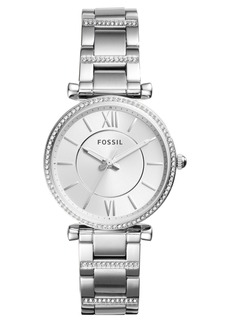 Fossil Carlie T-Bar Crystal Bracelet Watch, 35mm