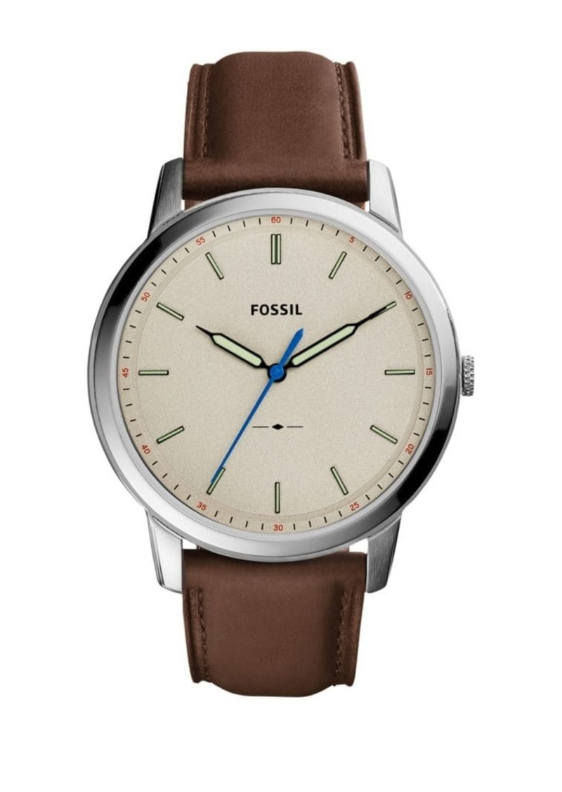 Fossil Casual The Minimalist 3H Leather Strap Watch
