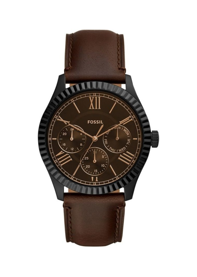 Fossil Chapman Stainless Steel & Leather-Strap Multifunction Watch