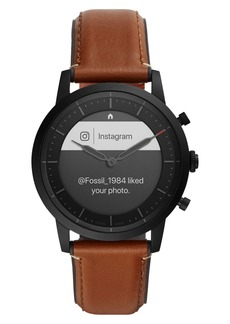 Fossil Collider Hybrid HR Chronograph Leather Strap Smart Watch, 42mm