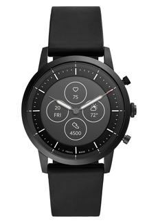 Fossil Collider Hybrid HR Chronograph Silicone Strap Smart Watch, 42mm