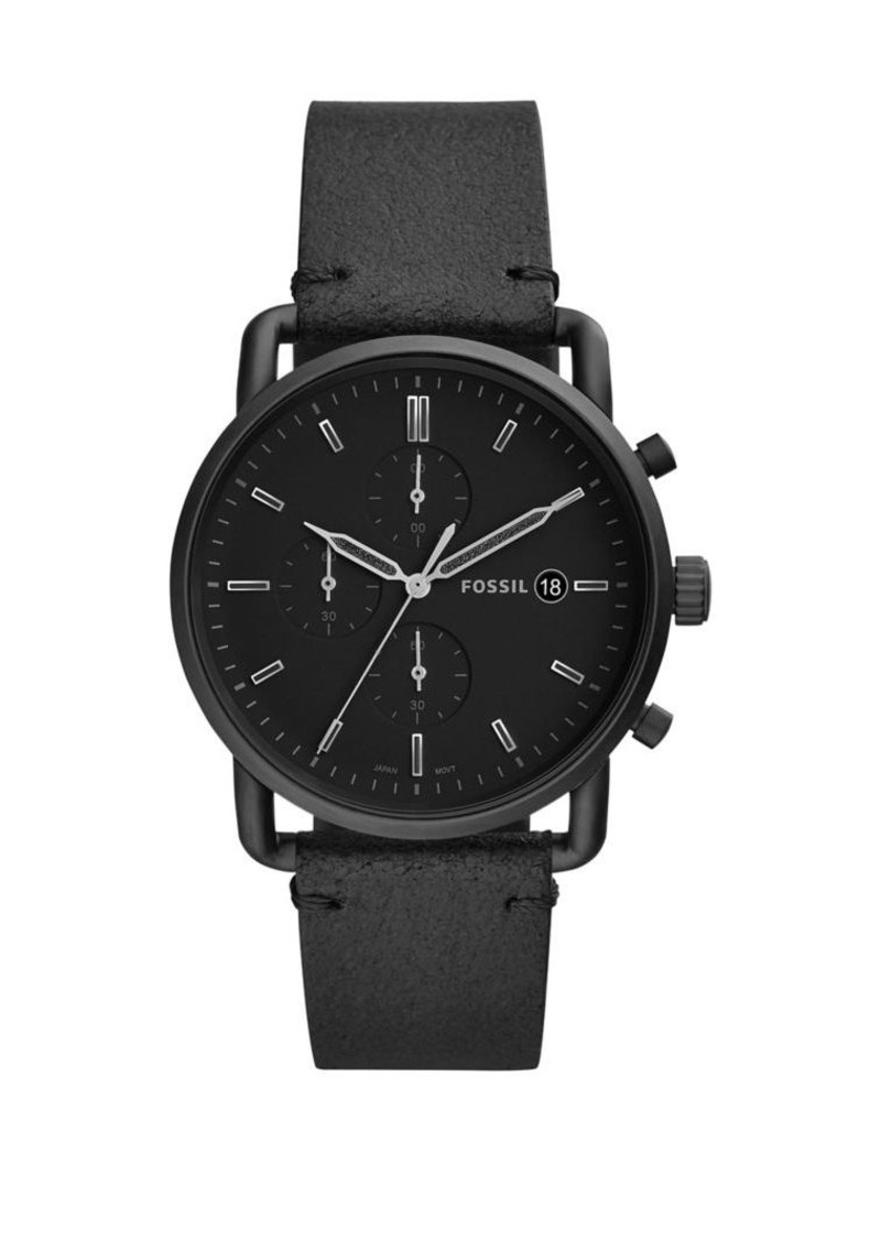 Fossil Commuter Chronograph Leather Strap Watch