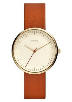 Fossil Essentialist Leather Strap Watch, 38mm