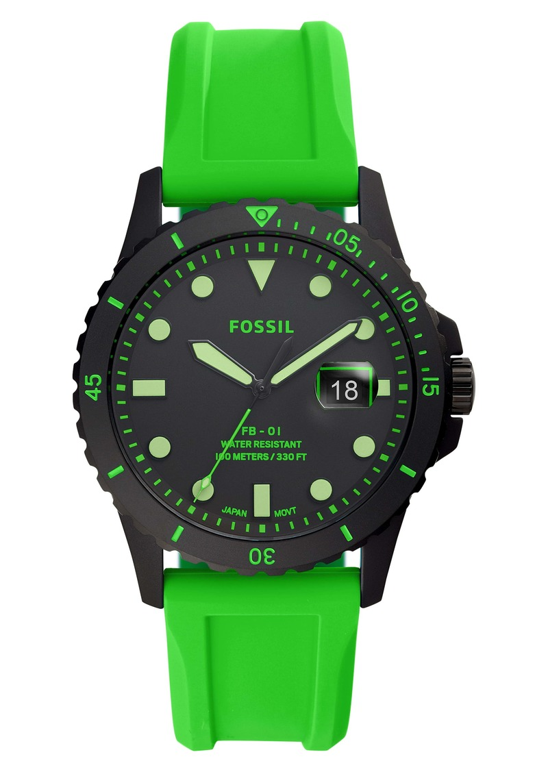 Fossil FB-01 Silicone Strap Watch, 42mm