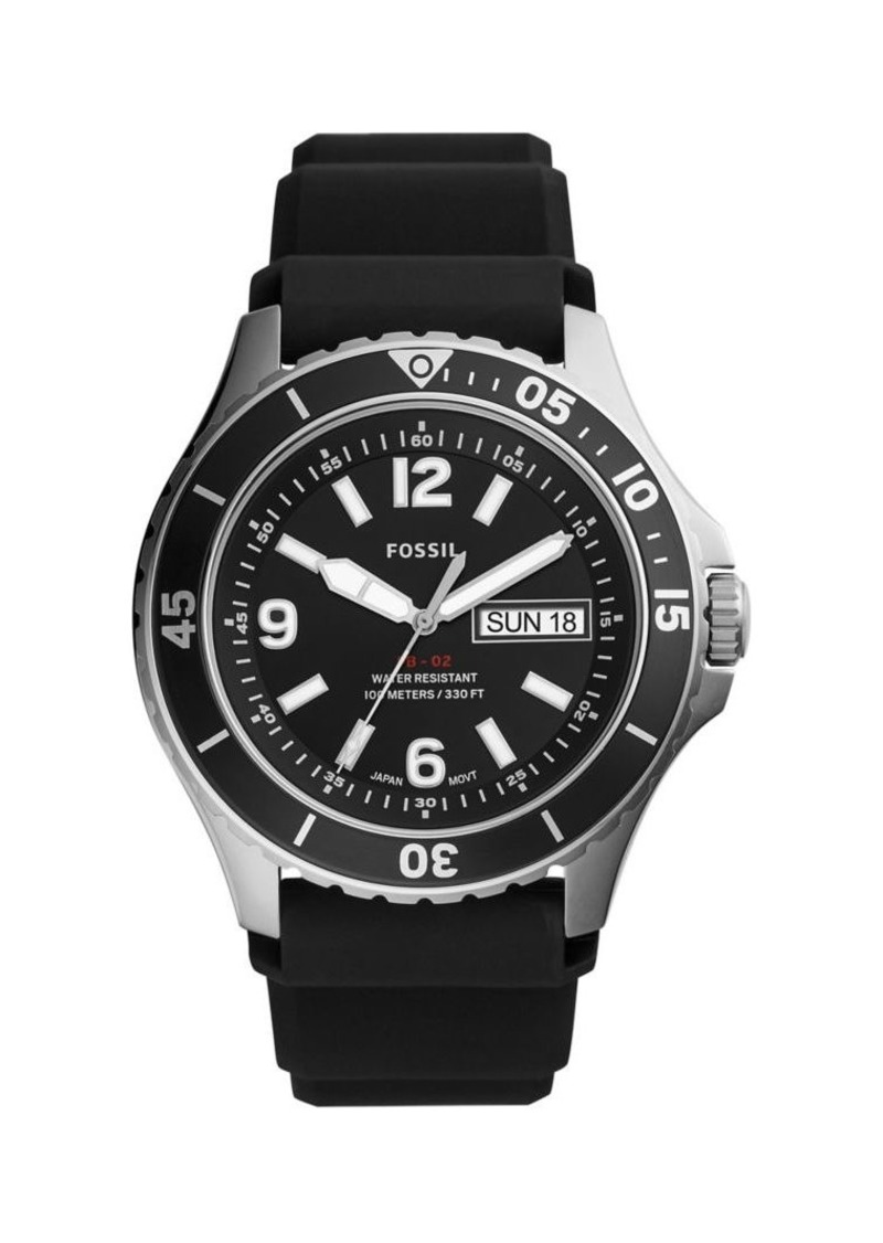 Fossil FB-02 Stainless Steel & Black Silicone-Strap 3-Hand Watch