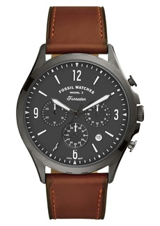 Fossil Forrester Chronograph Leather Strap Watch, 46mm