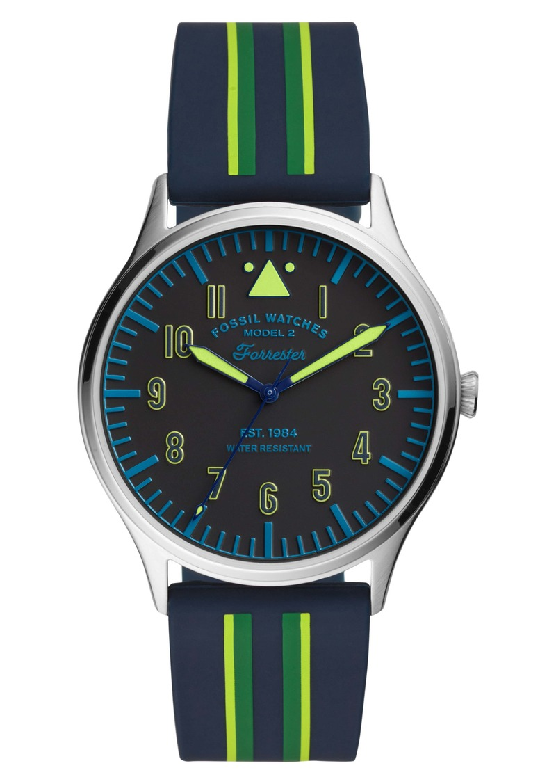 Fossil Forrester Round Silicone Strap Watch, 42mm