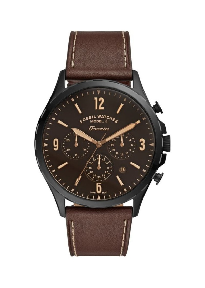 Fossil Forrester Stainless Steel & Leather-Strap Chronograph Watch