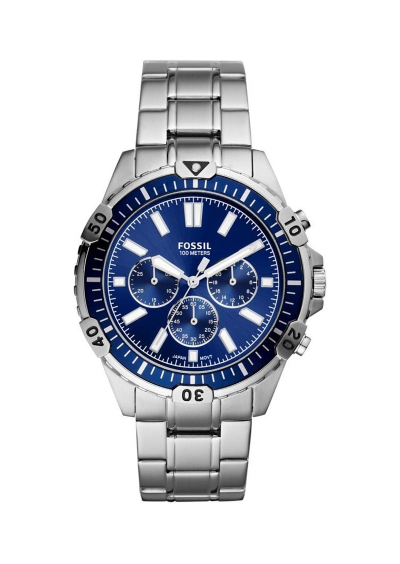 Fossil Garrett Silvertone Stainless Steel Bracelet Chronograph Watch