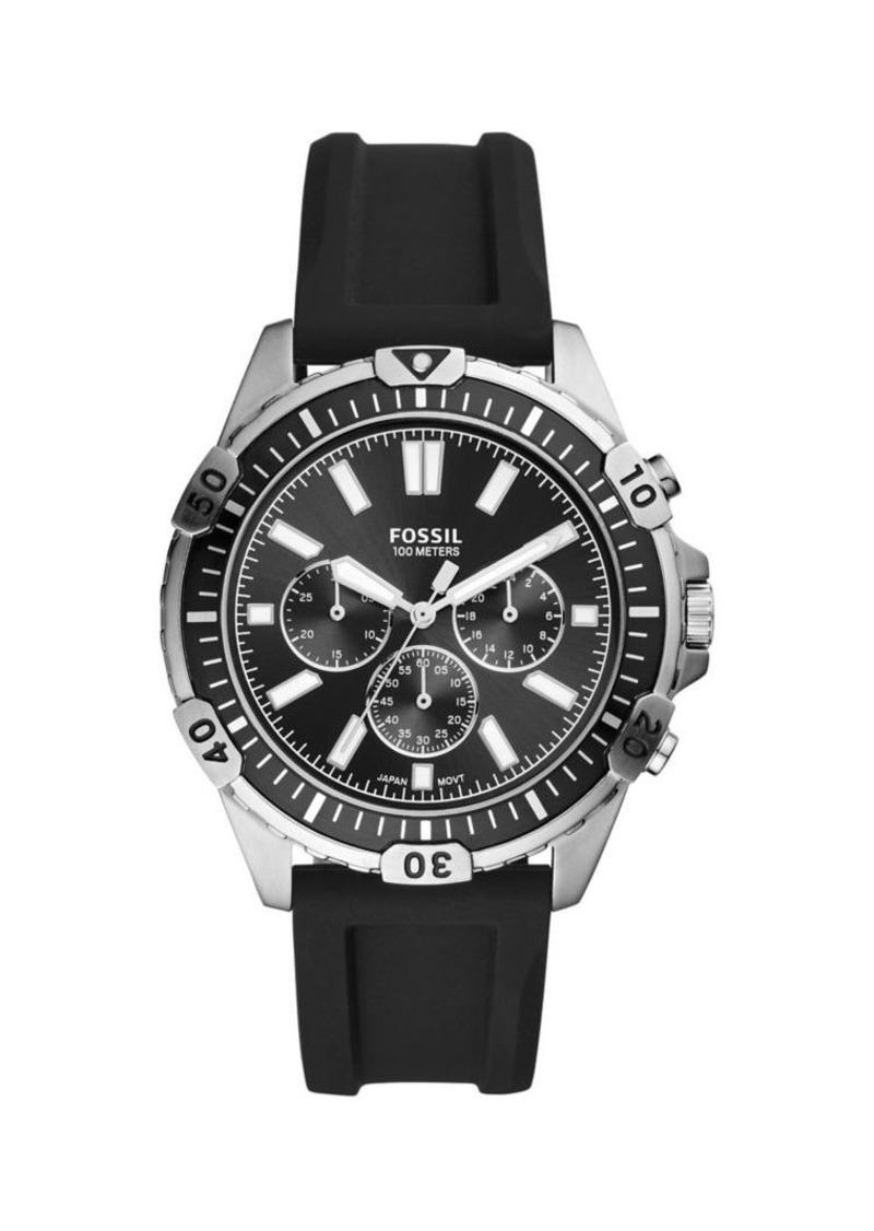 Fossil Garrett Stainless Steel & Silicone-Strap Chronograph Watch