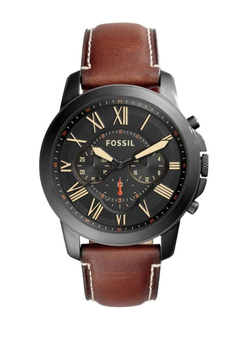 Fossil Grant Black-Tone Stainless Steel & Leather Strap Watch