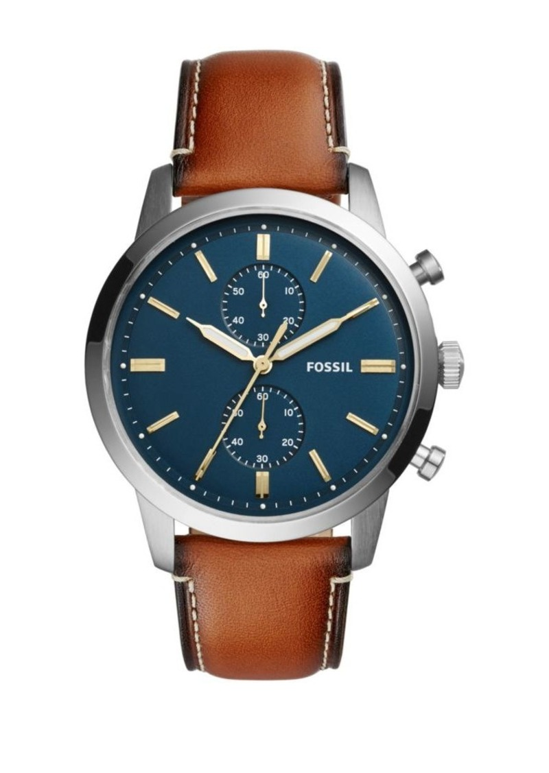 Fossil Grant Sport Stainless Steel & Leather Strap Chronograph Watch