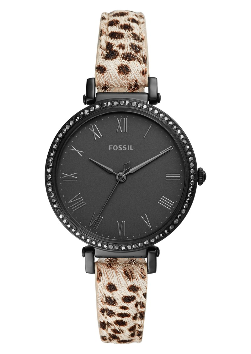 Fossil Jacqueline Crystal Bezel Faux Calf Hair Leather Strap Watch, 36mm