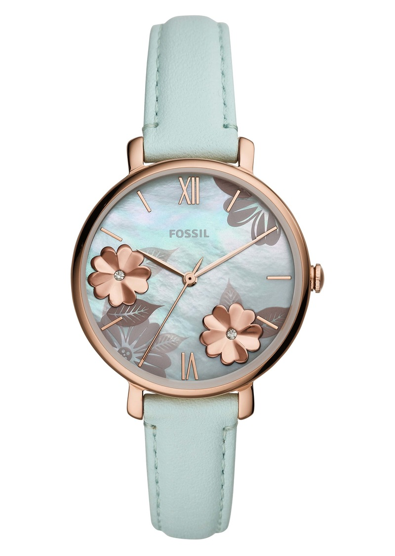 Fossil Jacqueline Floral Leather Strap Watch, 36mm