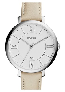 Fossil 'Jacqueline' Round Leather Strap Watch, 36mm