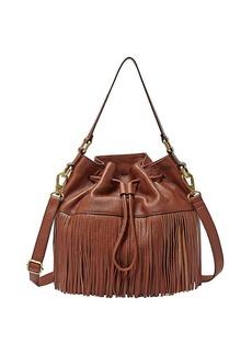 Fossil® Jules Leather Large Fringe Drawstring Bucket Bag