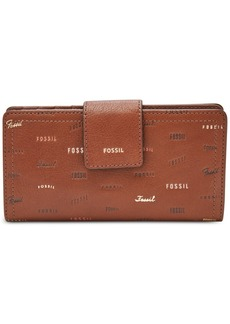 Fossil Logan Rfid Logo Tab Logo Leather Wallet