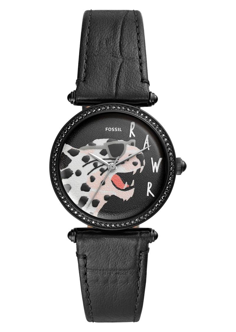 Fossil Lyric Crystal Bezel Leather Strap Watch, 32mm