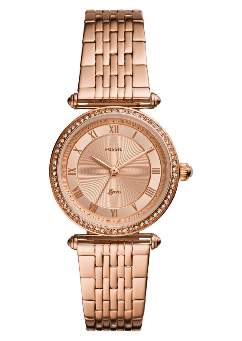 Fossil Lyric Crystal Bracelet Watch, 32mm