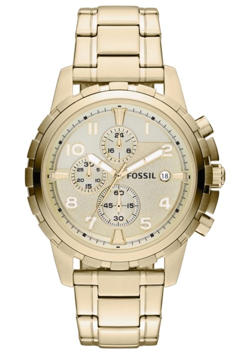 Fossil Men's Chronograph Dean Gold-Tone Stainless Steel Bracelet Watch 45mm FS4867