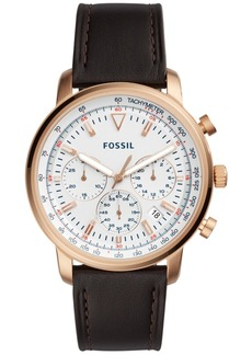 Fossil Men's Chronograph Goodwin Brown Leather Strap Watch 44mm