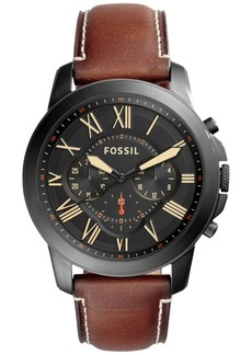 Fossil Men's Chronograph Grant Light Brown Leather Strap Watch 44mm FS5241