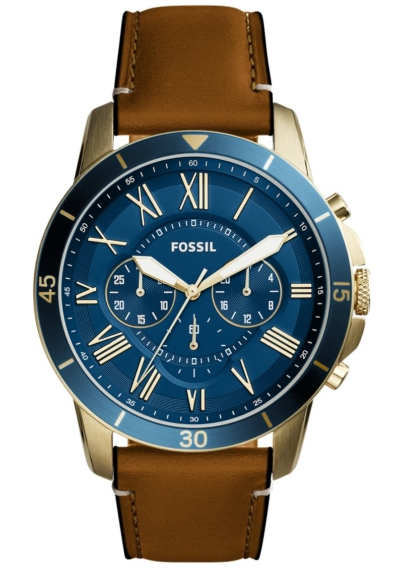 Fossil Men's Chronograph Grant Light Brown Leather Strap Watch 44mm FS5268